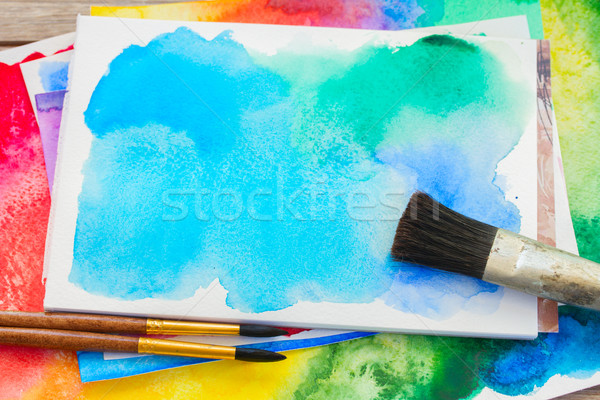 canva with frame of paints and brushes Stock photo © neirfy
