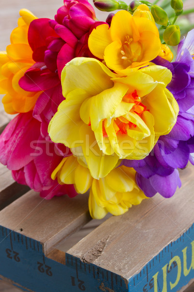 posy  of spring flowers on wooden table Stock photo © neirfy