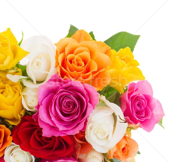 Buquê fresco rosas laranja amarelo branco Foto stock © neirfy