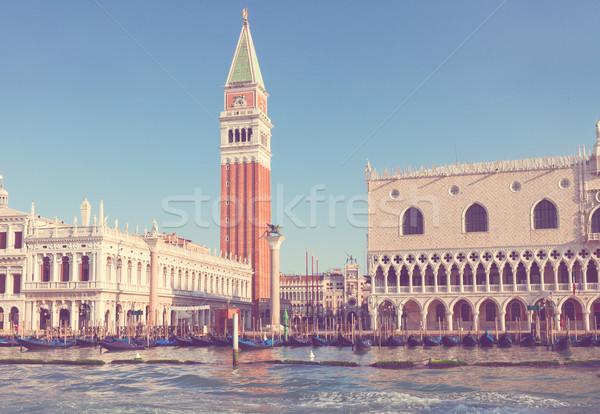 Carré bord de l'eau Venise Italie rétro Photo stock © neirfy