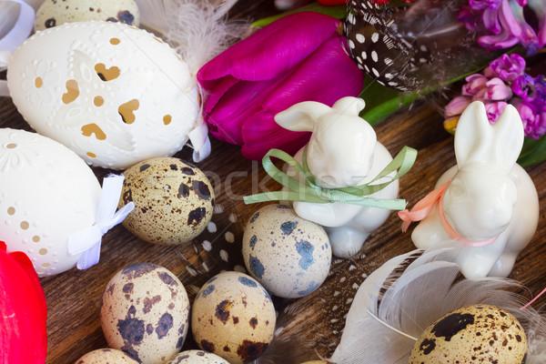Wiosennych kwiatów Easter Eggs wiosną świeże kwiaty biały Zdjęcia stock © neirfy