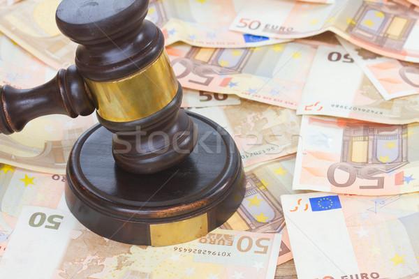 прав молоток евро деньги Сток-фото © neirfy