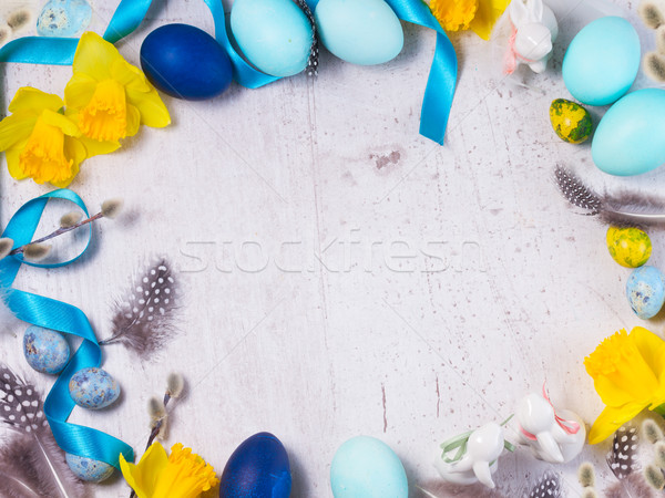 Easter frame with painted eggs and flowers Stock photo © neirfy