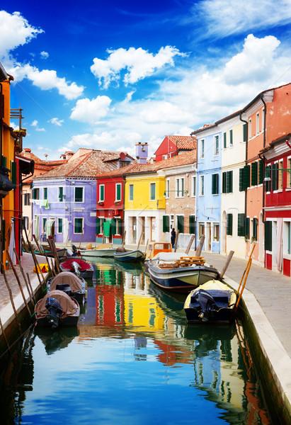 Foto stock: Isla · casas · canal · barcos · calle