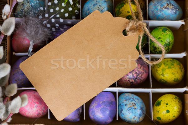 Pasen gekleurde eieren vak top exemplaar ruimte Stockfoto © neirfy