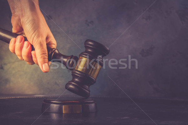 Hand holding law gavel Stock photo © neirfy