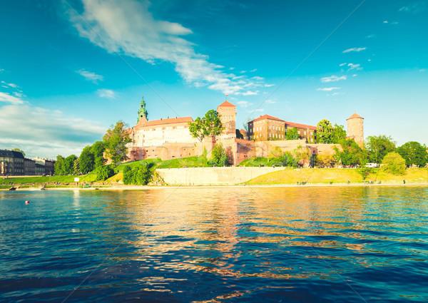 Heuvel krakow Polen kasteel rivier zomer Stockfoto © neirfy
