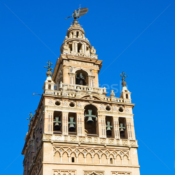 Bell tower of Cathedral church,  Seville, Spain Stock photo © neirfy