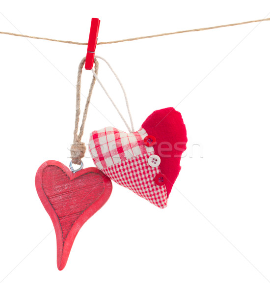 two bound hanging red  hearts on white Stock photo © neirfy