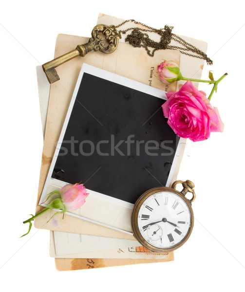pile of old photos  with antique clock, key and roses Stock photo © neirfy