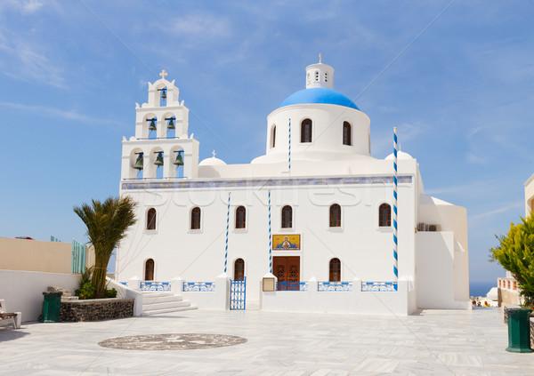 Ortodoks kilise santorini adası Yunanistan gökyüzü Bina Stok fotoğraf © neirfy