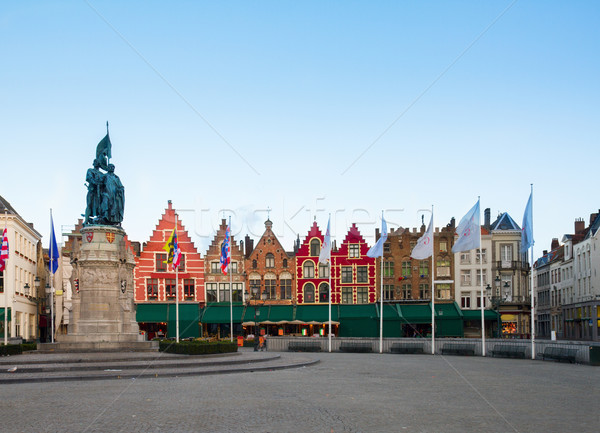 Medieval buildings on the Market Square, Brugge Stock photo © neirfy