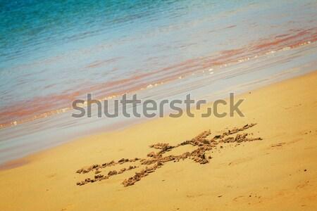 Nap rajzolt homokos tengerpart retro víz textúra Stock fotó © neirfy
