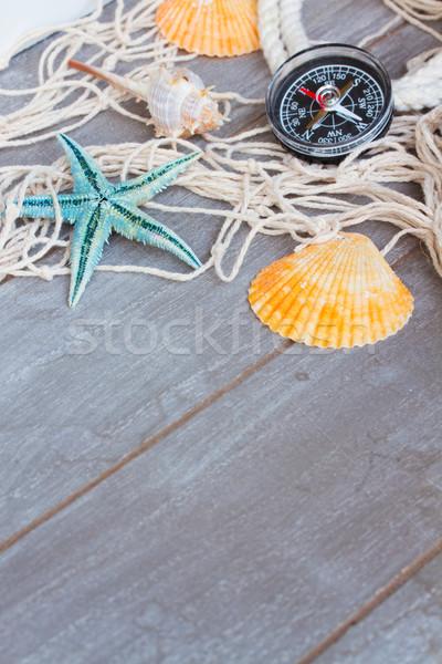 漁網 木製 コンパス コピースペース 木製のテーブル テクスチャ ストックフォト © neirfy