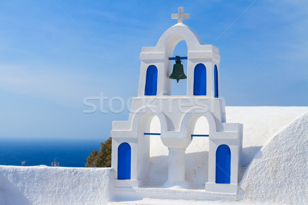 white with blue belfry, Santorini island, Greece Stock photo © neirfy