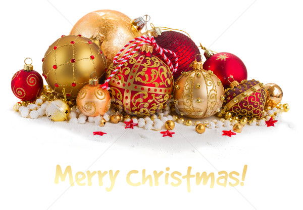 Сток-фото: Рождества · куча · золото · красный