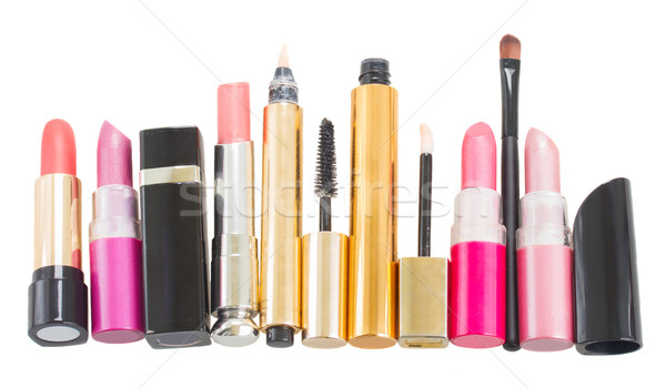 Foto stock: Conjunto · compensar · cosméticos · isolado · branco