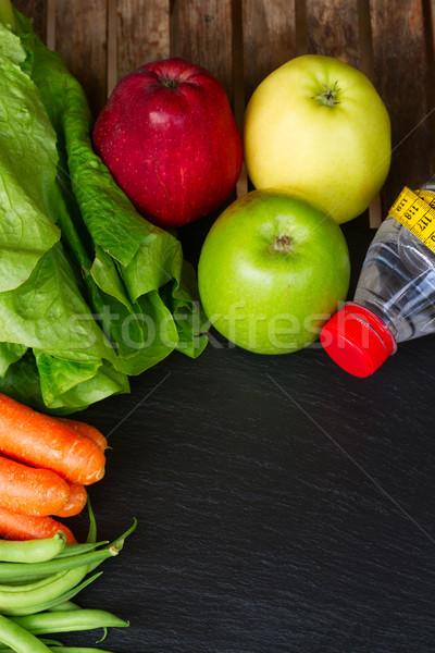 Foto stock: Alimentação · saudável · tabela · saudável · alimentos · frescos · água