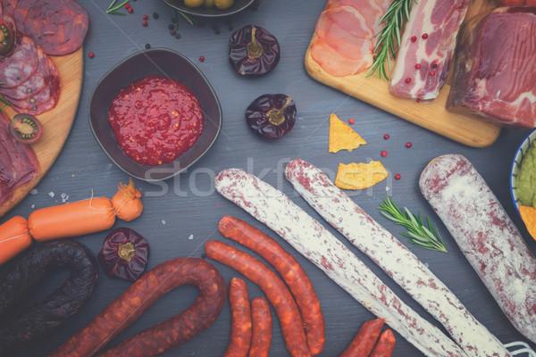 Picnic table with spanish sausage tapas Stock photo © neirfy
