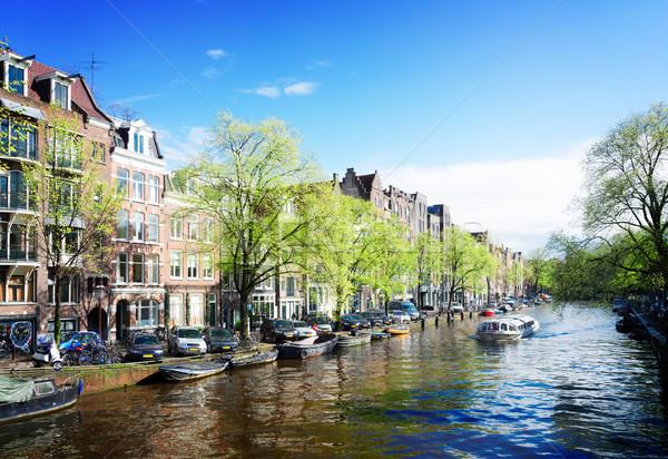 Häuser Niederlande Kanal Landschaft Retro Stock foto © neirfy