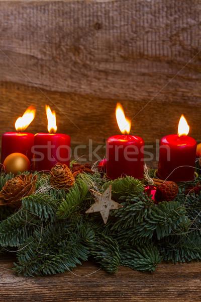 приход венок сжигание свечей вечнозеленый Сток-фото © neirfy