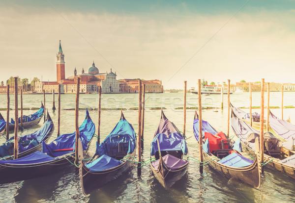 ストックフォト: 運河 · ヴェネツィア · イタリア · レトロな · 空