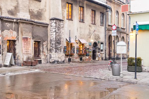 Invierno calle cracovia edad trimestre Polonia Foto stock © neirfy