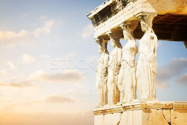 Templo Acrópole Atenas detalhes nascer do sol Grécia Foto stock © neirfy