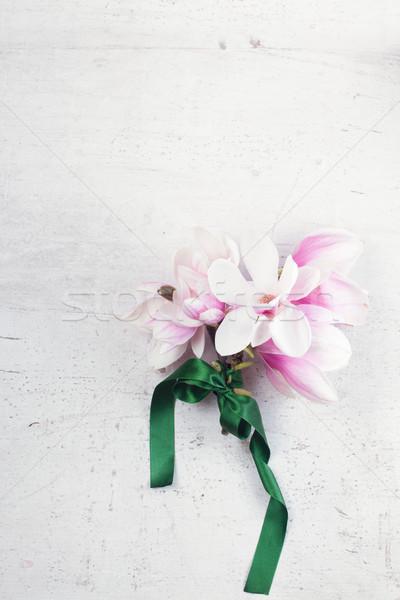 Magnolia flowers flat lay scene Stock photo © neirfy