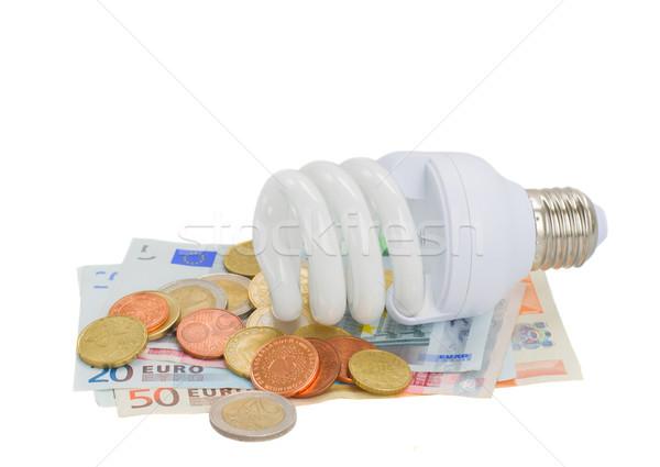 energy saving lamp bulb on euro money Stock photo © neirfy