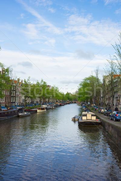 Amsterdam Holanda edad casas canal anillo Foto stock © neirfy
