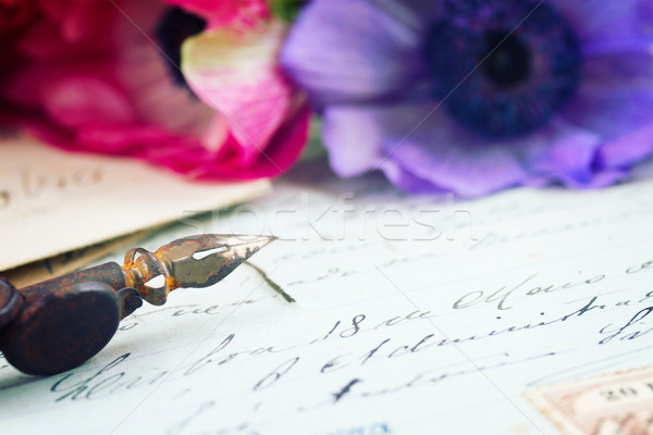 quill pen and antique letters with flowers Stock photo © neirfy