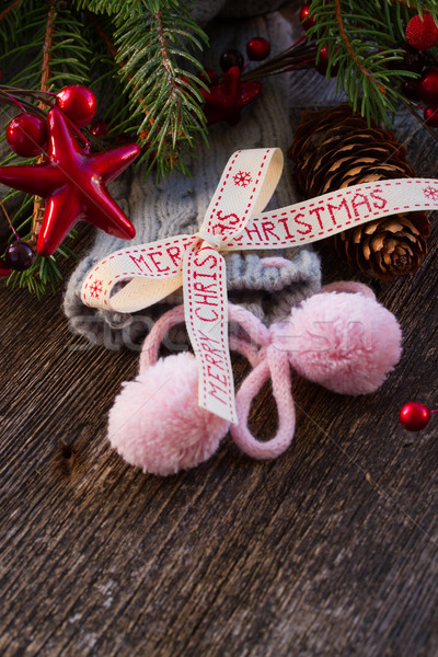 merry christmas bow with  wool socks Stock photo © neirfy