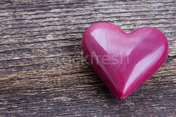 pink heart on wood Stock photo © neirfy