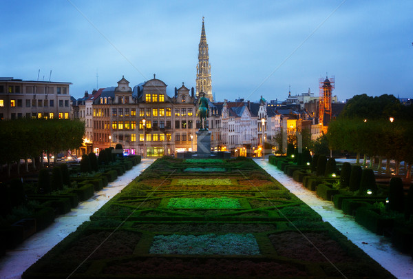Brussels old town cityscape at night Stock photo © neirfy