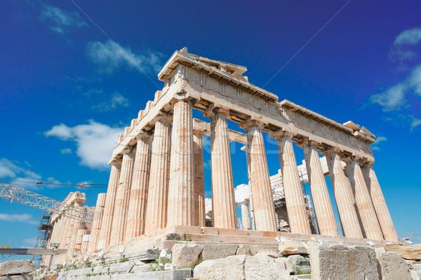 Partenon templo Atenas brilhante blue sky Acrópole Foto stock © neirfy