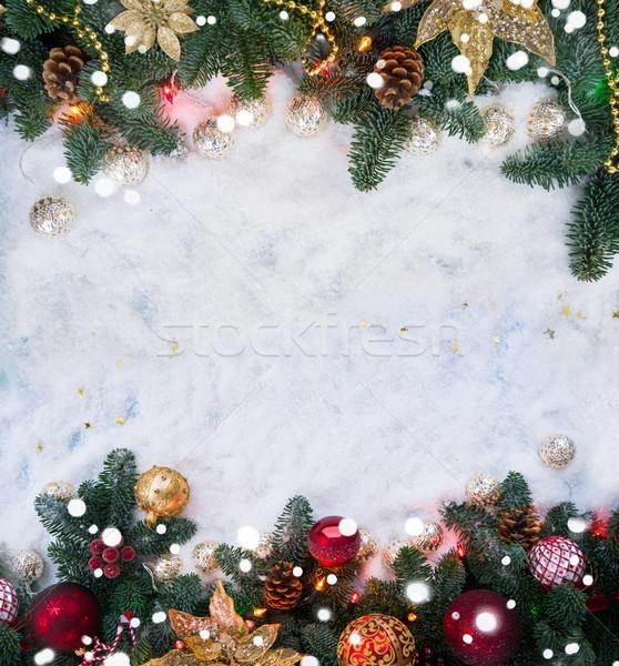 Christmas scène sneeuw ingericht evergreen boom Stockfoto © neirfy