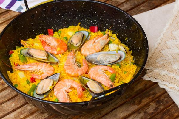 Paella -traditional spanish dish Stock photo © neirfy