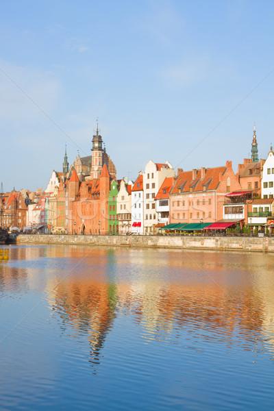 Città vecchia fiume danzica acqua blu barca Foto d'archivio © neirfy