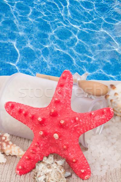 Rosso starfish mare trattamento termale blu acqua Foto d'archivio © neirfy