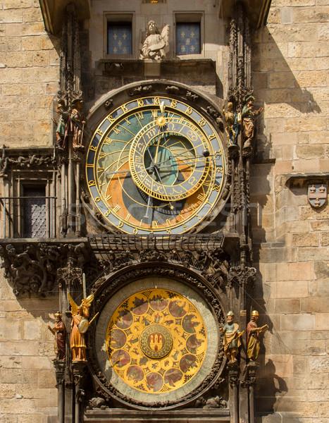 Csillagászati óra Prága Csehország középkori arc Stock fotó © neirfy