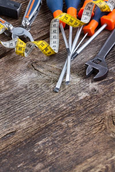 tools kit frame on wooden planks Stock photo © neirfy