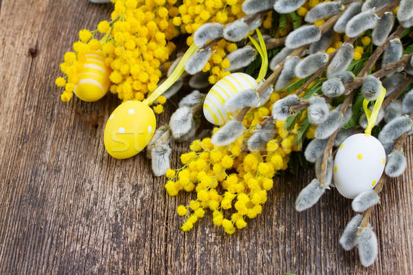 French mimosa and catkins with easter eggs Stock photo © neirfy