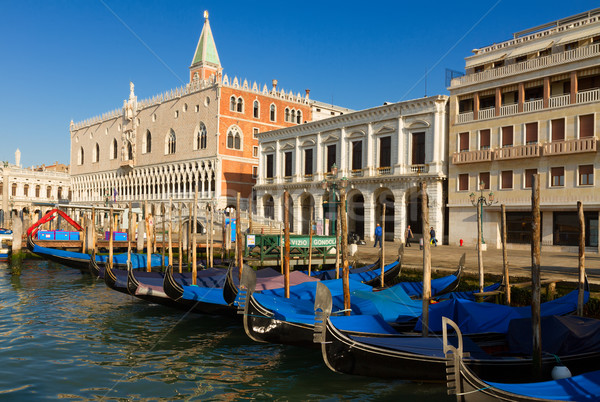 Gondolas  and Doge palace, Venice, Italy Stock photo © neirfy