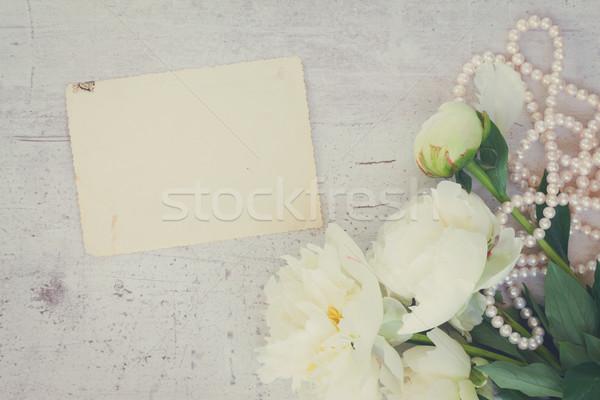 Beyaz çiçekler taze bağbozumu Retro çiçek Stok fotoğraf © neirfy