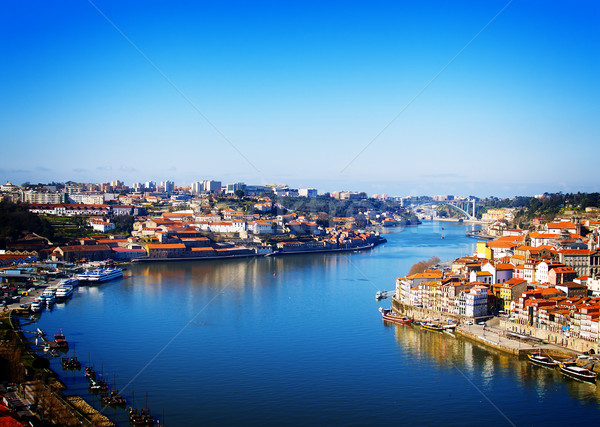 Stockfoto: Heuvel · oude · binnenstad · Portugal · villa · rivier · retro