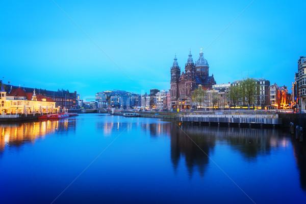 Stockfoto: Kerk · Amsterdam · skyline · oude · binnenstad · kanaal · nacht