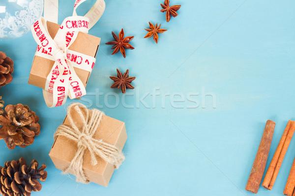 ストックフォト: 青 · 素朴な · クリスマス · スタイル · ギフトボックス · フレーム
