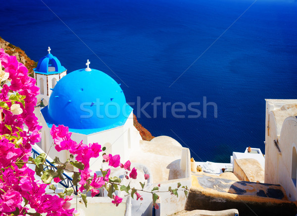 ストックフォト: 伝統的な · 青 · ドーム · 海 · サントリーニ · 教会
