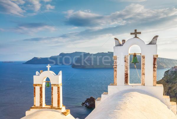 Branco santorini ilha Grécia tradicional igreja Foto stock © neirfy